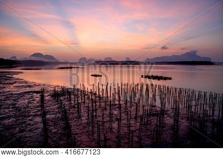 Scene Of Beautiful Sky And Crepuscular Rays At Sam-chong-tai Village, Phang-nga, Thailand
