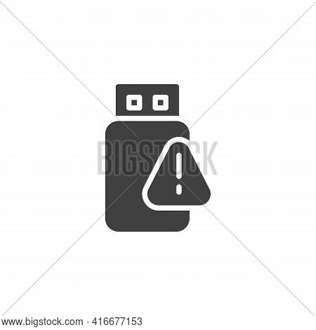 Usb Data Problem Vector Icon. Filled Flat Sign For Mobile Concept And Web Design. Usb Flash With Exc