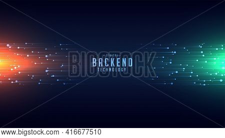 Backend Technology Concept With Glowing Lines Background