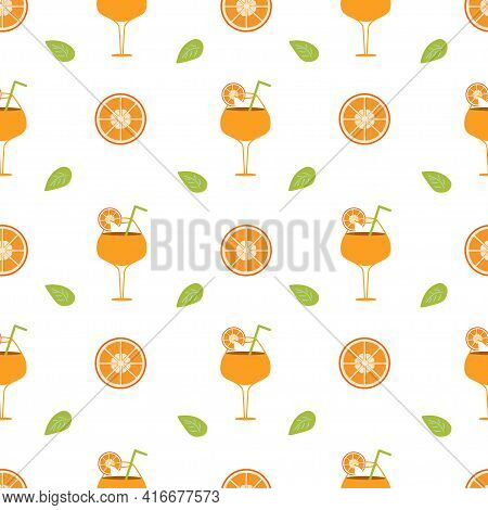 Background With Orange Cocktail And Orange Slices With Leaf On A White Background. Seamless Vector I