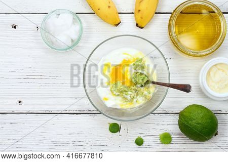 Natural Ingredients For Smoothing, Softening And Hydrating Hair. Banana, Avocado, Lime, Yogurt, Shea