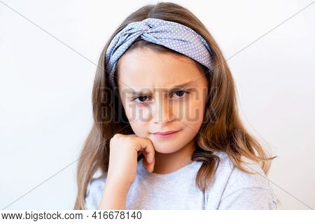 Offended Kid Portrait. Child Punishment. Disobedience Problem. Unhappy Displeased Skeptic Stubborn G