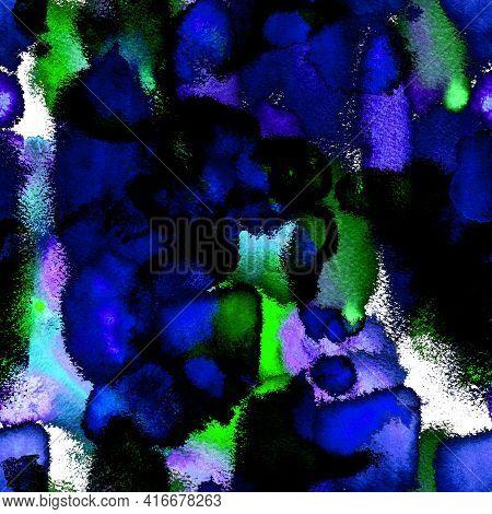 Watercolor Mixed Flowing Spots, Dots, Torn Edges. Surreal Pattern Spots, Ikat. Tie Dye, Batik. Endle