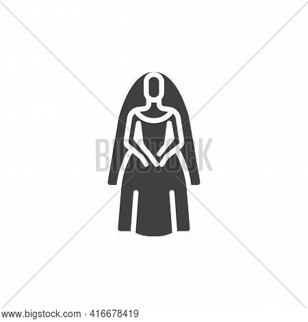 Bride In Wedding Dress Vector Icon. Filled Flat Sign For Mobile Concept And Web Design. Beautiful Br