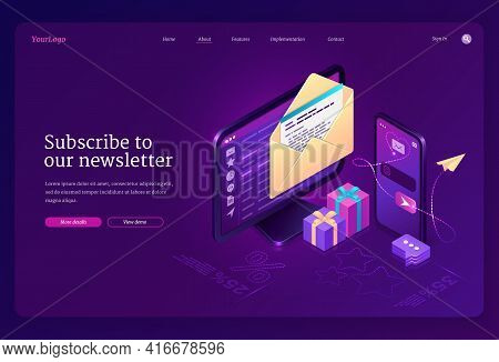 Subscribe To Our Newsletter Banner. Email News Subscription, Electronic Messages With Gift And Sale.