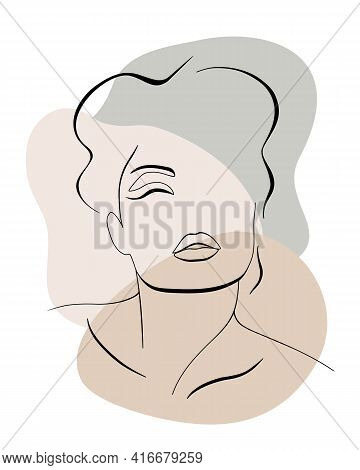 Trendy Fashion Contour Drawing Lineart Portrait Of A Beautiful Girl . Abstract Face Minimalism And S