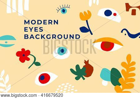 Modern Art Background With Abstract Eyes, Floral, Geo Shapes. Gorizontal Poster Simple Shapes Matiss