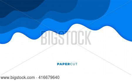Blue Papercut Style Wavy Abstract Background Design