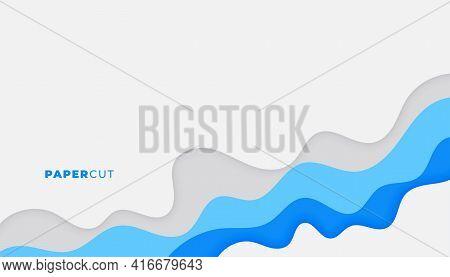 Papercut Backgorund In Blue Business Colors Design