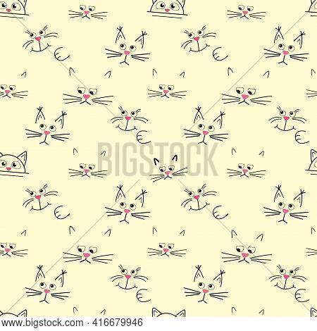 Cute Cat Muzzle. Seamless Pattern On Yellow Background