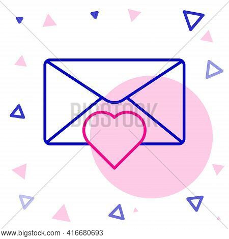 Line Envelope With Valentine Heart Icon Isolated On White Background. Message Love. Letter Love And