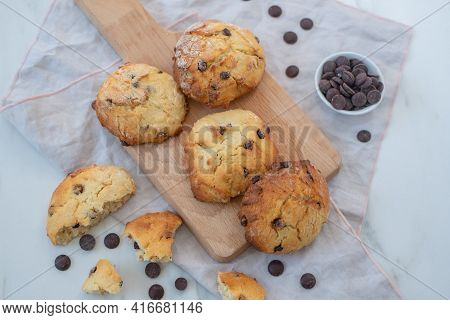 Home Made Chocolate Chip Scones On A Table