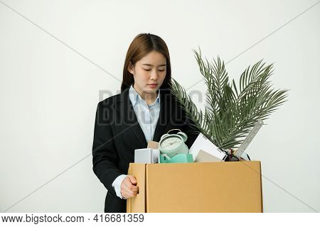 Asia Businesswoman Is Upset By Dismissal In Packing Belongings Company Into Cardboard Box Young Wome