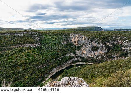 Landscape View Around The Village Labastide De Virac And The Ardeche Mountains In France