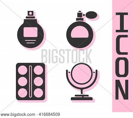 Set Round Makeup Mirror, Perfume, Eye Shadow Palette And Perfume Icon. Vector