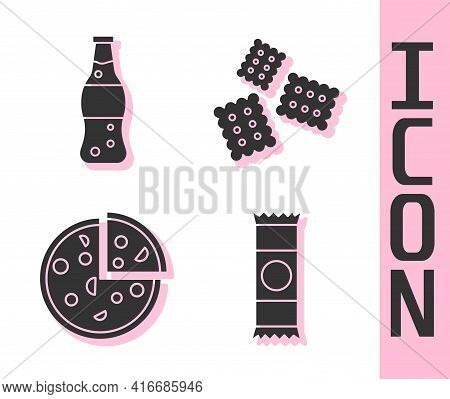 Set Chocolate Bar, Bottle Of Water, Pizza And Cracker Biscuit Icon. Vector
