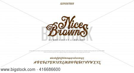 Elegant Font Letter Alphabet Set. Classic Brown Lettering Typographic Font. Upper And Lowercase With