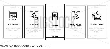 Mover Express Service Onboarding Mobile App Page Screen Vector. Mover Worker Delivery Cardboard Box