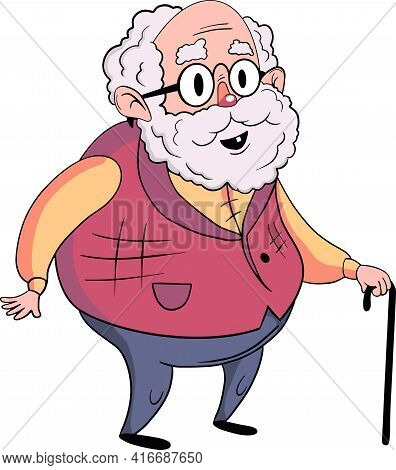 Funny Illustration Of Old Grandfather With A Stick Over White Background.