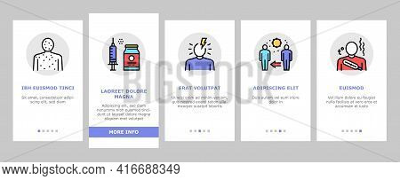Chicken Pox Disease Onboarding Mobile App Page Screen Vector. Ill Research And Medicaments Vaccine,