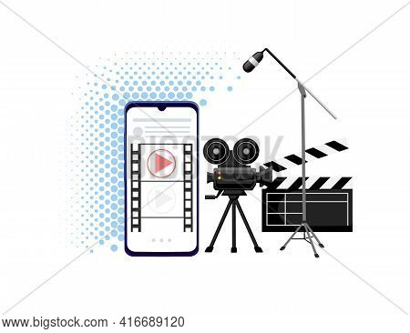 Video Or Film Production Cinematography Concept Media Player On Smartphone With Professional Tools V
