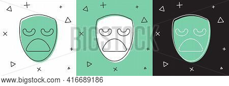 Set Drama Theatrical Mask Icon Isolated On White And Green, Black Background. Vector