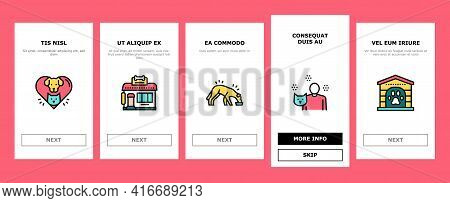 Animal Pet Shelter Onboarding Mobile App Page Screen Vector. Pet Shelter Building And Worker, Eating