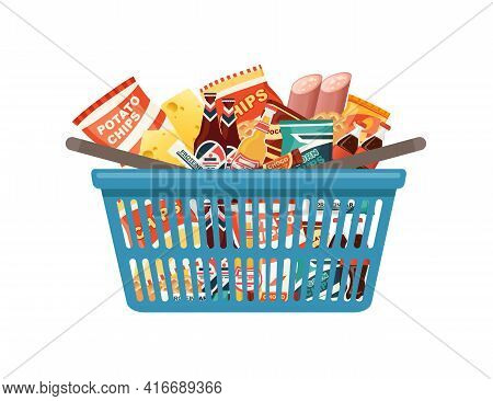 Blue Plastic Shopping Basket With Fresh Grocery Products Snacks Sausage And Soda Vector Illustration