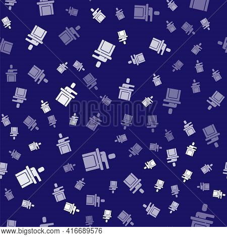 White Speaker Icon Isolated Seamless Pattern On Blue Background. Orator Speaking From Tribune. Publi