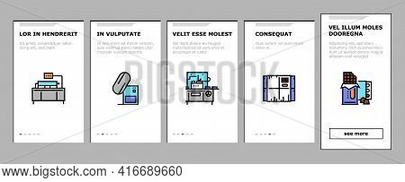 Chocolate Production Onboarding Mobile App Page Screen Vector. Chocolate Factory Industry Manufactur