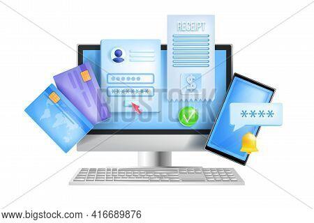 Online Banking, Internet Payment, Web Wallet Vector Concept, Computer Screen, Credit Card, Smartphon