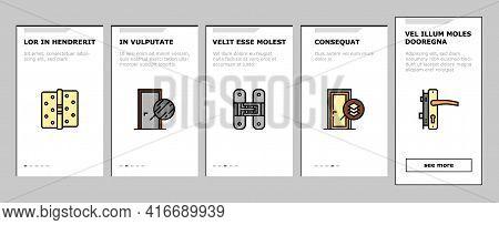 Interior Doors Types Onboarding Mobile App Page Screen Vector. Swing, Sliding And Folding Doors, Ven