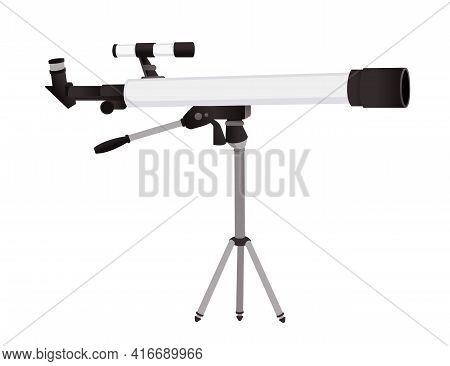 Professional Optical Device Black And White Classic Refractor Telescope On Tripod Vector Illustratio