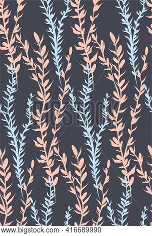 Delicate Stems Of Herbs And Twigs With Thorns And Petals. Seamless Vertical Natural Pattern. Texture