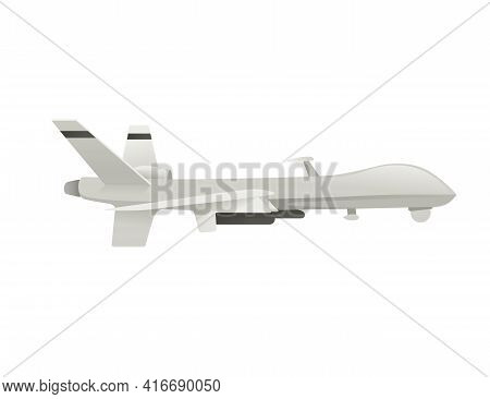 Military Drone With Rockets Missiles Weapon Nuclear Launch Vector Illustration Isolated On White Bac