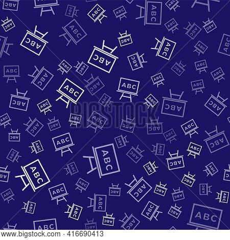 White Chalkboard Icon Isolated Seamless Pattern On Blue Background. School Blackboard Sign. Vector