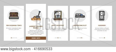 Funeral Burial Service Onboarding Mobile App Page Screen Vector. Church And Priest, Grave And Coffin