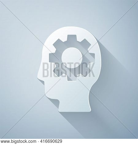 Paper Cut Human Head With Gear Inside Icon Isolated On Grey Background. Artificial Intelligence. Thi