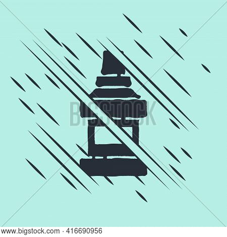 Black Mouthwash Plastic Bottle Icon Isolated On Green Background. Liquid For Rinsing Mouth. Oralcare