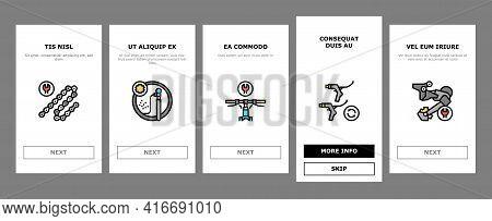 Bike Repair Service Onboarding Mobile App Page Screen Vector. Complex Bike Repair And Setting, Resea