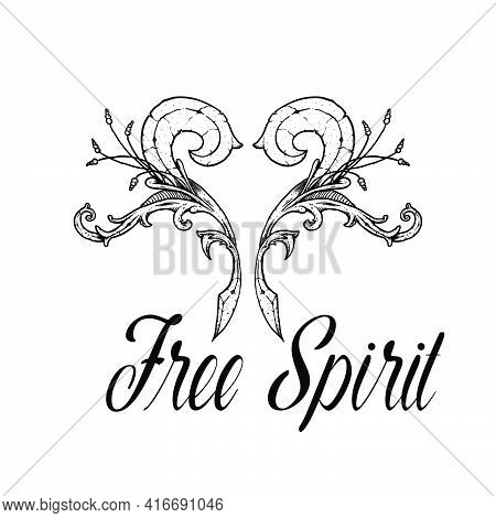 Free Spirit,  Christian Faith, Typography For Print Or Use As Poster, Card, Flyer Or T Shirt