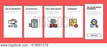 Export Import Logistic Onboarding Mobile App Page Screen Vector. Export And Import Airplane And Truc