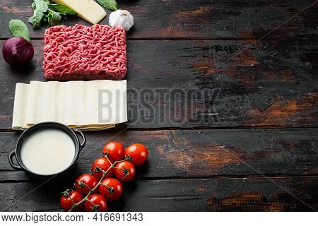 Ingredients For Cooking Lasagna. Recipe For Homemade Italian Lasagna With Tomato Sauce And Meat Set,