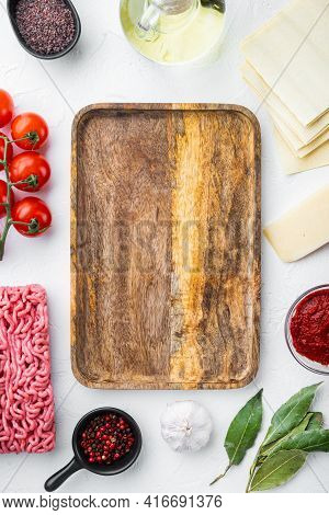 Meat Lasagna Ingredients Set, On White Stone  Background, Top View, Flat Lay, With Copy Space For Te