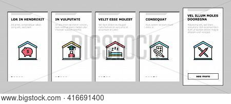 Home Training Course Onboarding Mobile App Page Screen Vector. Cooking And Painting, Finance And Bus