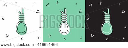 Set Gallows Rope Loop Hanging Icon Isolated On White And Green, Black Background. Rope Tied Into Noo