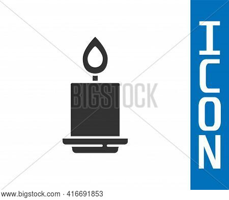 Grey Burning Candle Icon Isolated On White Background. Cylindrical Aromatic Candle Stick With Burnin
