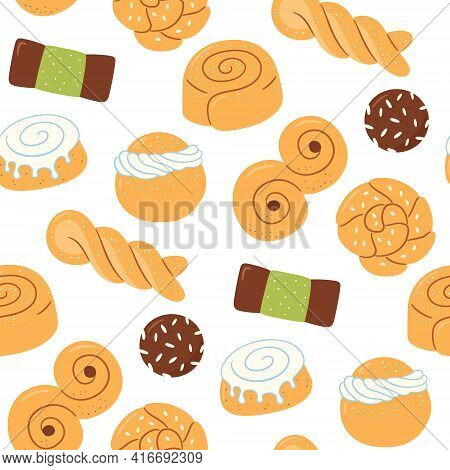 Seamless Pattern With Traditional Swedish Sweets. Kanelbulle Bun, Cinnamon Roll, Semla, Lussekatt, D