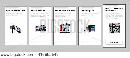 Factory Garbage Waste Onboarding Mobile App Page Screen Vector. Industry Plant Recycling And Burning