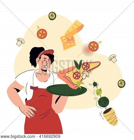 Attractive Waitress Holding A Tray With Slice Of Pizza. Pizzeria Or Italian Restaurant Waitress Surr